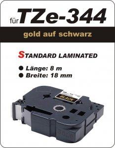 gold auf schwarz - 100% TZe-M344 (18 mm) komp.