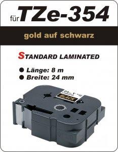 gold auf schwarz - 100% TZe-M354 (24 mm) komp.
