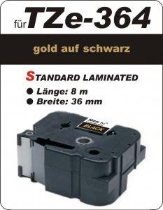gold auf schwarz - 100% TZe-M364 (36 mm) komp.