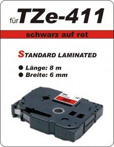 schwarz auf rot - 100% TZe-411 (6 mm) komp.