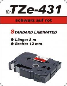 schwarz auf rot - 100% TZe-431 (12 mm) komp.