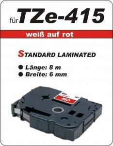 weiß auf rot - 100% TZe-415 (6 mm) komp.
