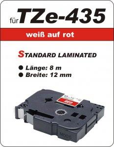 weiß auf rot - 100% TZe-435 (12 mm) komp.