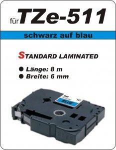 schwarz auf blau - 100% TZe-511 (6 mm) komp.