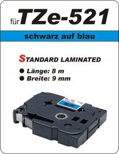 schwarz auf blau - 100% TZe-521 (9 mm) komp.