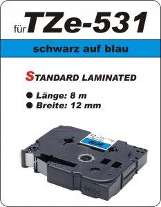 schwarz auf blau - 100% TZe-531 (12 mm) komp.