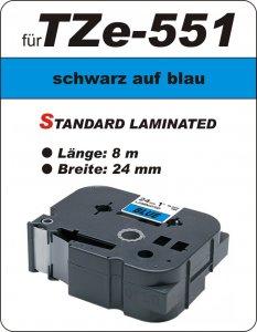 schwarz auf blau - 100% TZe-551 (24 mm) komp.