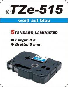 weiß auf blau - 100% TZe-515 (6 mm) komp.