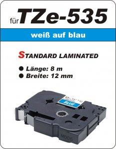 weiß auf blau - 100% TZe-535 (12 mm) komp.