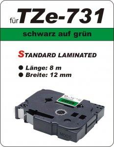 schwarz auf grün - 100% TZe-731 (12 mm) komp.