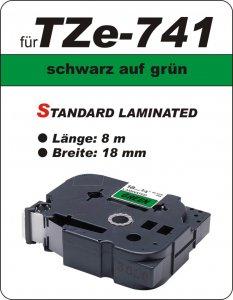 schwarz auf grün - 100% TZe-741 (18 mm) komp.