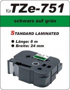 schwarz auf grün - 100% TZe-751 (24 mm) komp.