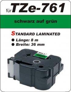 schwarz auf grün - 100% TZe-761 (36 mm) komp.