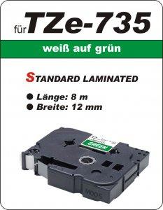 weiß auf grün - 100% TZe-735 (12 mm) komp.
