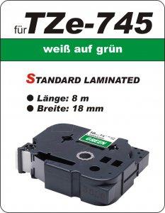 weiß auf grün - 100% TZe-745 (18 mm) komp.