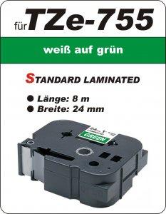 weiß auf grün - 100% TZe-755 (24 mm) komp.