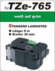 weiß auf grün - 100% TZe-765 (36 mm) komp.