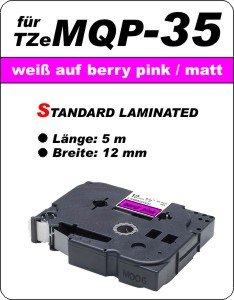 weiß auf pink (matt) - 100% TZeMQP-35 (12 mm) komp.