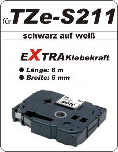 schwarz auf weiß - 100% TZe-S211 (6 mm) komp.