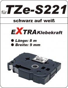 schwarz auf weiß - 100% TZe-S221 (9 mm) komp.