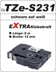 schwarz auf weiß - 100% TZe-S231 (12 mm) komp.