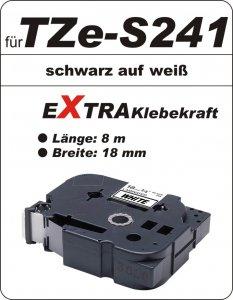 schwarz auf weiß - 100% TZe-S241 (18 mm) komp.