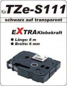 schwarz auf transparent - 100% TZe-S111 (6 mm) komp.