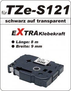 schwarz auf transparent - 100% TZe-S121 (9 mm) komp.