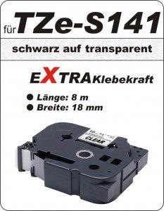 schwarz auf transparent - 100% TZe-S141 (18 mm) komp.