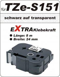 schwarz auf transparent - 100% TZe-S151 (24 mm) komp.