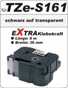 schwarz auf transparent - 100% TZe-S161 (36 mm) komp.