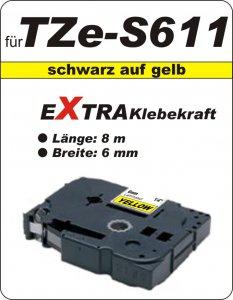 schwarz auf gelb - 100% TZe-S611 (6 mm) komp.