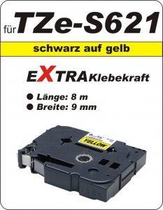 schwarz auf gelb - 100% TZe-S621 (9 mm) komp.