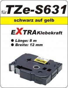 schwarz auf gelb - 100% TZe-S631 (12 mm) komp.
