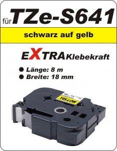 schwarz auf gelb - 100% TZe-S641 (18 mm) komp.
