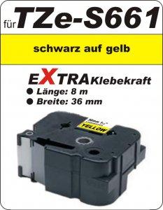 schwarz auf gelb - 100% TZe-S661 (36 mm) komp.