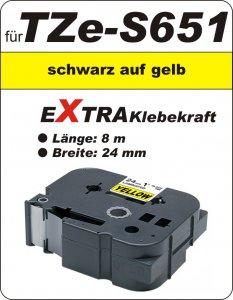 schwarz auf gelb - 100% TZe-S651 (24 mm) komp.