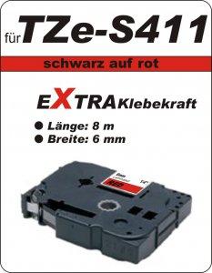 schwarz auf rot - 100% TZe-S411 (6 mm) komp.