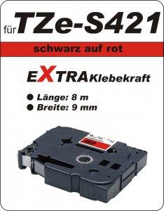 schwarz auf rot - 100% TZe-S421 (9 mm) komp.