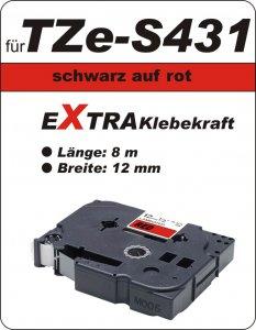 schwarz auf rot - 100% TZe-S431 (12 mm) komp.
