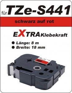 schwarz auf rot - 100% TZe-S441 (18 mm) komp.
