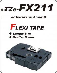 schwarz auf weiß - 100% TZe-FX211 (6 mm) komp.