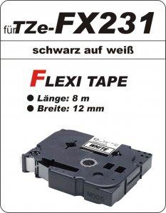 schwarz auf weiß - 100% TZe-FX231 (12 mm) komp.