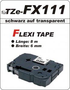 schwarz auf transparent - 100% TZe-FX111 (6 mm) komp.