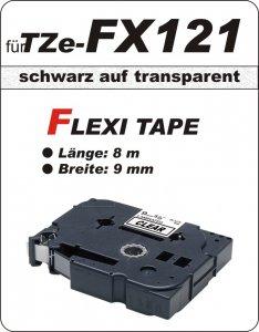 schwarz auf transparent - 100% TZe-FX121 (9 mm) komp.