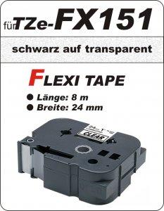 schwarz auf transparent - 100% TZe-FX151 (24 mm) komp.