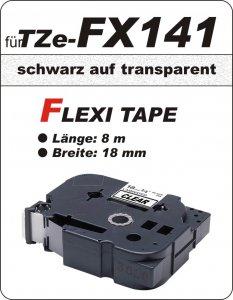 schwarz auf transparent - 100% TZe-FX141 (18 mm) komp.