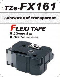 schwarz auf transparent - 100% TZe-FX161 (36 mm) komp.