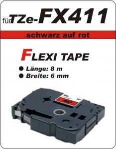 schwarz auf rot - 100% TZe-FX411 (6 mm) komp.