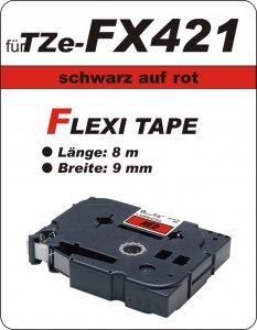 schwarz auf rot - 100% TZe-FX421 (9 mm) komp.